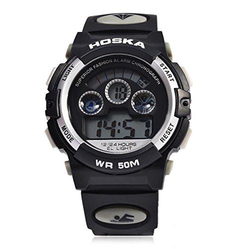 Leopard Shop hoska H001B Kinder Sport Armbanduhr LED Tag Chronograph Wasser Widerstand weiss schwarz