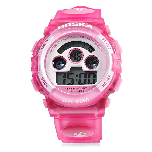 Leopard Shop hoska H001B Kinder Sport Armbanduhr LED Tag Chronograph Wasser Widerstand Pink