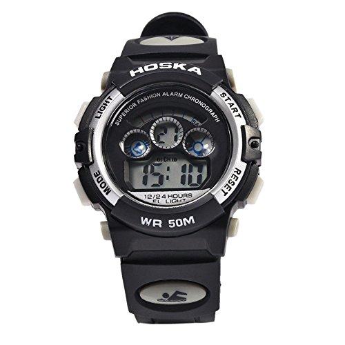 Leopard Shop hoska h001s Kinder Sport Armbanduhr LED Tag Chronograph LED Wasser Widerstand weiss schwarz