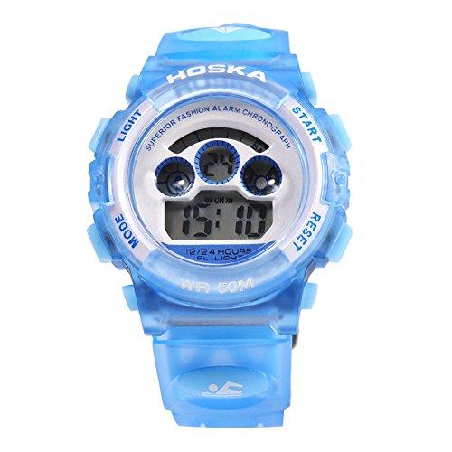 Leopard Shop hoska h001s Kinder Sport Armbanduhr LED Tag Chronograph LED Wasser Widerstand blau