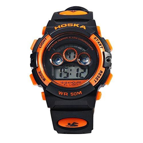 Leopard Shop hoska h001s Kinder Sport Armbanduhr LED Tag Chronograph LED Wasser Widerstand schwarz orange