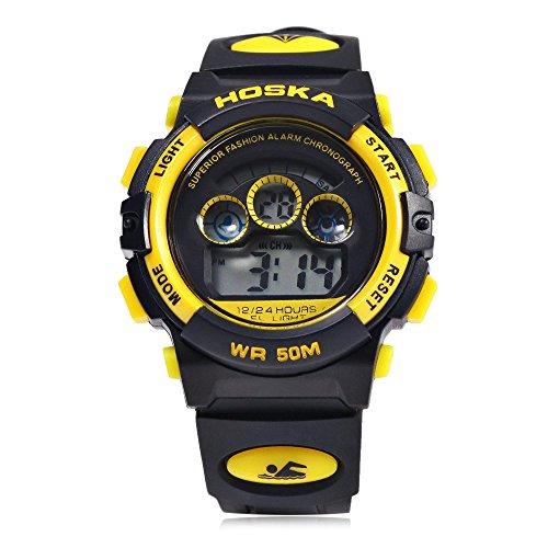 Leopard Shop hoska h001s Kinder Sport Armbanduhr LED Tag Chronograph LED Wasser Widerstand gelb schwarz