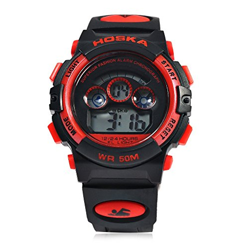 Leopard Shop hoska h001s Kinder Sport Armbanduhr LED Tag Chronograph LED Wasser Widerstand rot schwarz