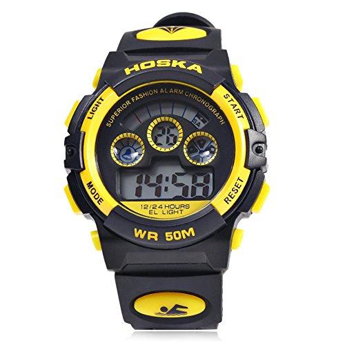 Leopard Shop hoska H001B Kinder Sport Armbanduhr LED Tag Chronograph Wasser Widerstand gelb schwarz