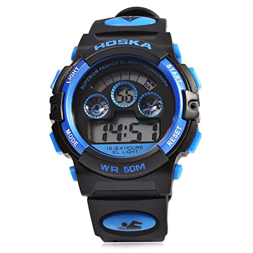 Leopard Shop hoska H001B Kinder Sport Armbanduhr LED Tag Chronograph Wasser Widerstand blau schwarz