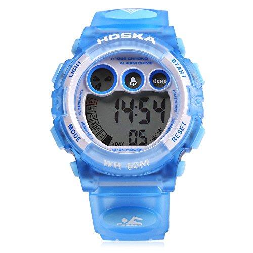 Leopard Shop hoska H002B Kinder LED Tag Chronograph LED Sport Wasser Widerstand Armbanduhr Blau