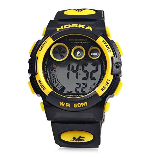 Leopard Shop hoska H002B Kinder LED Tag Chronograph LED Sport Wasser Widerstand Armbanduhr Gelb Schwarz