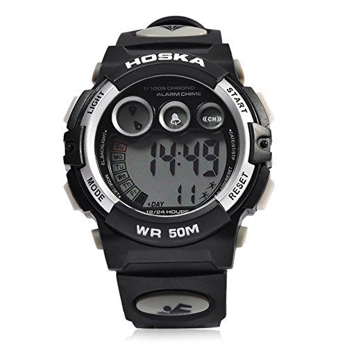 Leopard Shop hoska H002B Kinder LED Tag Chronograph LED Sport Wasser Widerstand Armbanduhr Weiss Schwarz