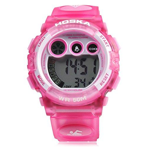 Leopard Shop hoska H002B Kinder LED Tag Chronograph LED Sport Wasser Widerstand Armbanduhr Pink