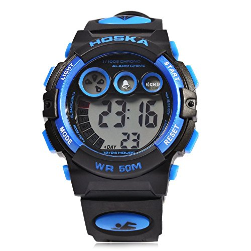 Leopard Shop hoska H002B Kinder LED Tag Chronograph LED Sport Wasser Widerstand Armbanduhr Blau Schwarz