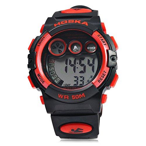 Leopard Shop hoska H002B Kinder LED Tag Chronograph LED Sport Wasser Widerstand Armbanduhr Rot Schwarz