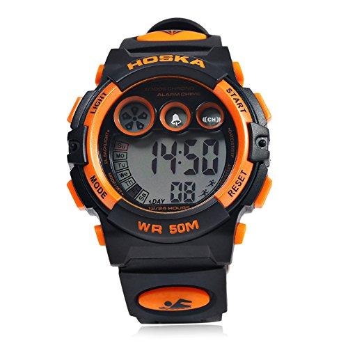 Leopard Shop hoska H002B Kinder LED Tag Chronograph LED Sport Wasser Widerstand Armbanduhr Schwarz Orange