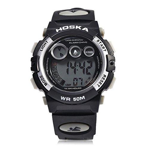 Leopard Shop hoska h002s Kid Sport digitale Armbanduhr mit Tag Chronograph LED Licht Armbanduhr Wasser Widerstand weiss schwarz