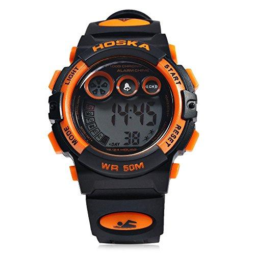 Leopard Shop hoska h002s Kid Sport digitale Armbanduhr mit Tag Chronograph LED Licht Armbanduhr Wasser Widerstand schwarz orange