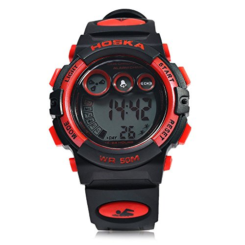 Leopard Shop hoska h002s Kid Sport digitale Armbanduhr mit Tag Chronograph LED Licht Armbanduhr Wasser Widerstand rot schwarz
