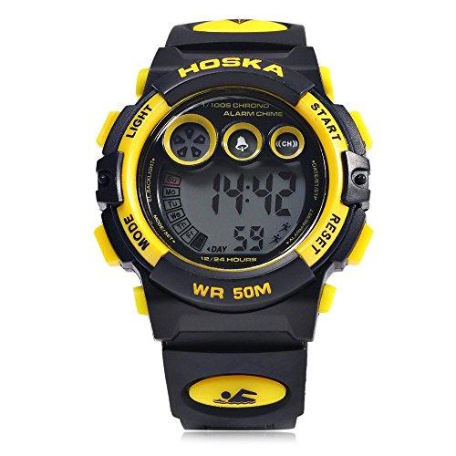 Leopard Shop hoska h002s Kid Sport digitale Armbanduhr mit Tag Chronograph LED Licht Armbanduhr Wasser Widerstand gelb schwarz