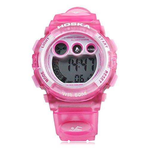 Leopard Shop hoska h002s Kid Sport digitale Armbanduhr mit Tag Chronograph LED Licht Armbanduhr Wasser Widerstand Pink