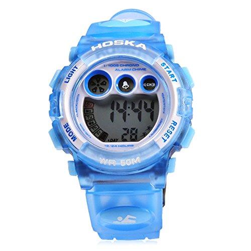 Leopard Shop hoska h002s Kid Sport digitale Armbanduhr mit Tag Chronograph LED Licht Armbanduhr Wasser Widerstand blau