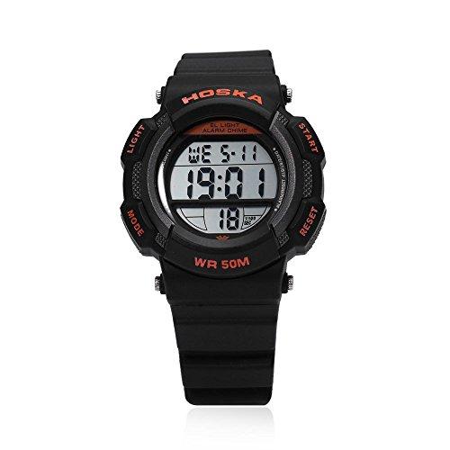 Leopard Shop hoska h007s Multifunktional Digital LED Armbanduhr Kinder Sport Armbanduhr Chronograph Kalender Alarm EL Hintergrundbeleuchtung Wasser Widerstand schwarz orange