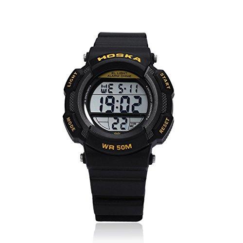 Leopard Shop hoska h007s Multifunktional Digital LED Armbanduhr Kinder Sport Armbanduhr Chronograph Kalender Alarm EL Hintergrundbeleuchtung Wasser Widerstand gelb schwarz