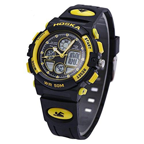 Leopard Shop hoska h003s Multifunktional Digital Sport Armbanduhr Quarz Chronograph Kalender Alarm EL Hintergrundbeleuchtung Wasser Widerstand gelb schwarz