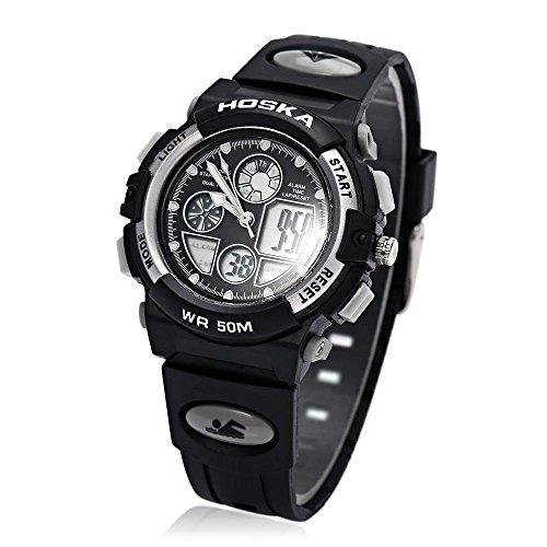 Leopard Shop hoska h003s Multifunktional Digital Sport Armbanduhr Quarz Chronograph Kalender Alarm EL Hintergrundbeleuchtung Wasser Widerstand weiss schwarz