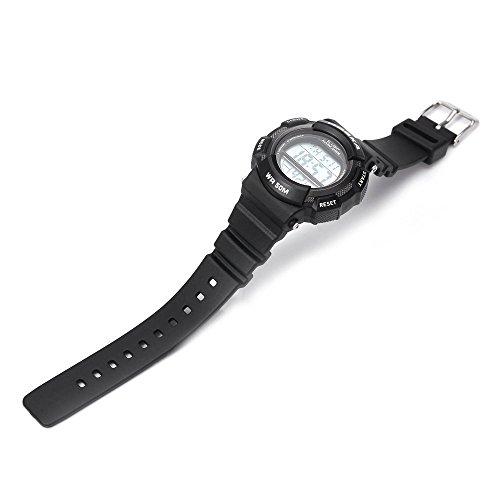 Leopard Shop hoska h007s Multifunktional Digital LED Armbanduhr Kinder Sport Armbanduhr Chronograph Kalender Alarm EL Hintergrundbeleuchtung Wasser Widerstand Silber Schwarz