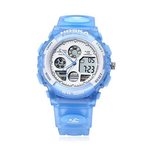 Leopard Shop hoska h003b Multifunktional Kinder Sport Armbanduhr Dual Bewegung Chronograph Kalender Alarm EL Hintergrundbeleuchtung LED Armbanduhr Wasser Widerstand blau