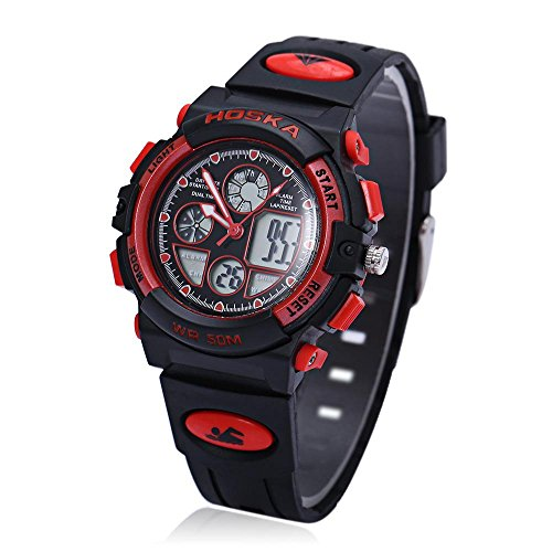 Leopard Shop hoska h003s Multifunktional Digital Sport Armbanduhr Quarz Chronograph Kalender Alarm EL Hintergrundbeleuchtung Wasser Widerstand rot schwarz