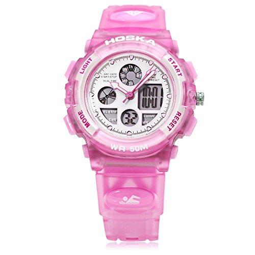Leopard Shop hoska h003s Multifunktional Digital Sport Armbanduhr Quarz Chronograph Kalender Alarm EL Hintergrundbeleuchtung Wasser Widerstand Pink
