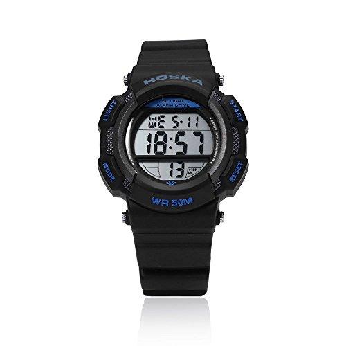 Leopard Shop hoska h007s Multifunktional Digital LED Armbanduhr Kinder Sport Armbanduhr Chronograph Kalender Alarm EL Hintergrundbeleuchtung Wasser Widerstand blau schwarz