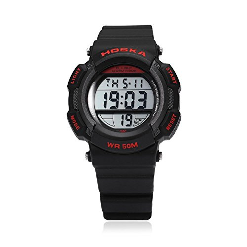 Leopard Shop hoska h007s Multifunktional Digital LED Armbanduhr Kinder Sport Armbanduhr Chronograph Kalender Alarm EL Hintergrundbeleuchtung Wasser Widerstand rot schwarz