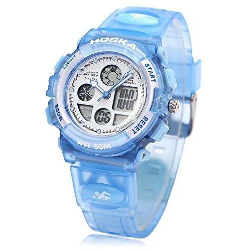 Leopard Shop hoska h003s Multifunktional Digital Sport Armbanduhr Quarz Chronograph Kalender Alarm EL Hintergrundbeleuchtung Wasser Widerstand blau