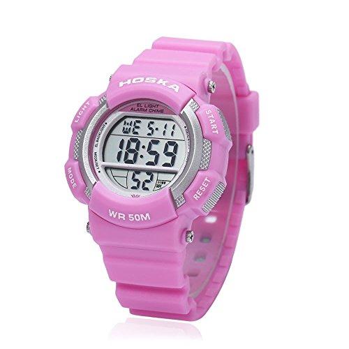 Leopard Shop hoska h007s Multifunktional Digital LED Armbanduhr Kinder Sport Armbanduhr Chronograph Kalender Alarm EL Hintergrundbeleuchtung Wasser Widerstand Pink