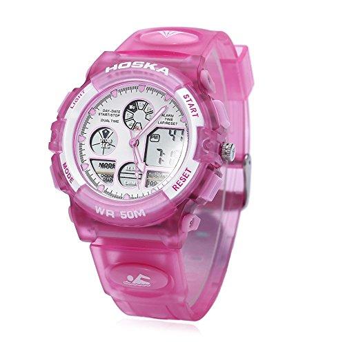Leopard Shop hoska h003b Multifunktional Kinder Sport Armbanduhr Dual Bewegung Chronograph Kalender Alarm EL Hintergrundbeleuchtung LED Armbanduhr Wasser Widerstand Pink