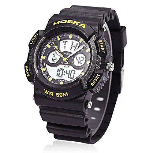Leopard Shop hoska h004b Multifunktionelle Sport Armbanduhr Digital Quarz Chronograph Kalender Alarm EL Hintergrundbeleuchtung 50 m Wasser Widerstand gelb schwarz