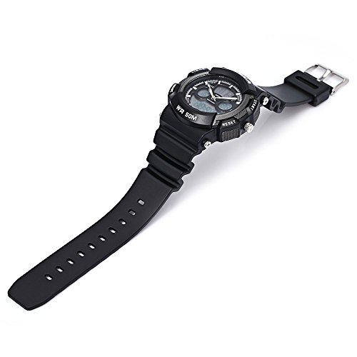 Leopard Shop hoska h004b Multifunktionelle Sport Armbanduhr Digital Quarz Chronograph Kalender Alarm EL Hintergrundbeleuchtung 50 m Wasser Widerstand weiss schwarz
