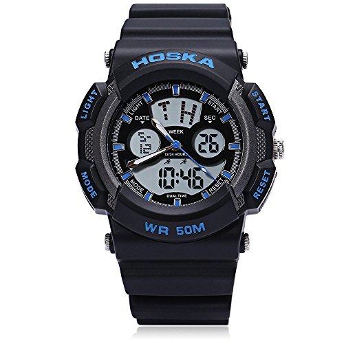 Leopard Shop hoska h004b Multifunktionelle Sport Armbanduhr Digital Quarz Chronograph Kalender Alarm EL Hintergrundbeleuchtung 50 m Wasser Widerstand blau schwarz