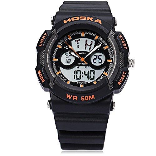 Leopard Shop hoska h004b Multifunktionelle Sport Armbanduhr Digital Quarz Chronograph Kalender Alarm EL Hintergrundbeleuchtung 50 m Wasser Widerstand schwarz orange