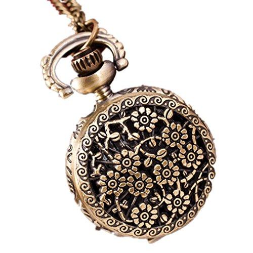 Vovotrade Heisse Retro Bronzen Quarz Taschen Uhr haengende Kettenhalskette Sonnenblume