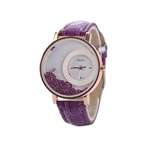 Vovotrade Damen Ledertreibsand Rhinestone Quarz Armband Armbanduhr Uhr Lila