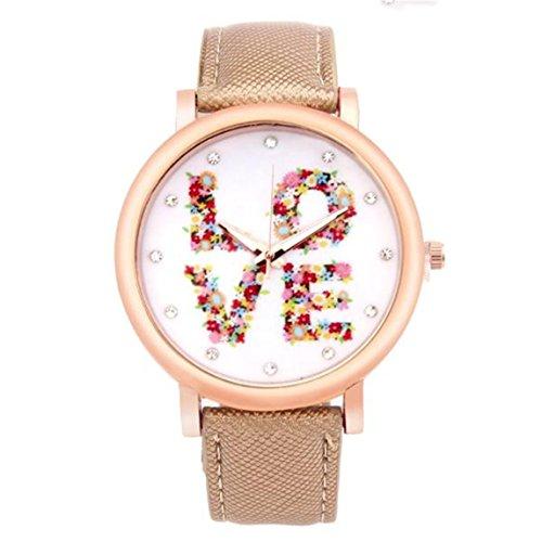 Vovotrade Damen Liebes Muster Leder Band analoge Quarz Mode Uhren Gold