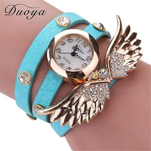 Vovotrade Duoya Uhren Damen Diamant Fluegel Abendkleid tragen PU Leather Alloy Hellblau