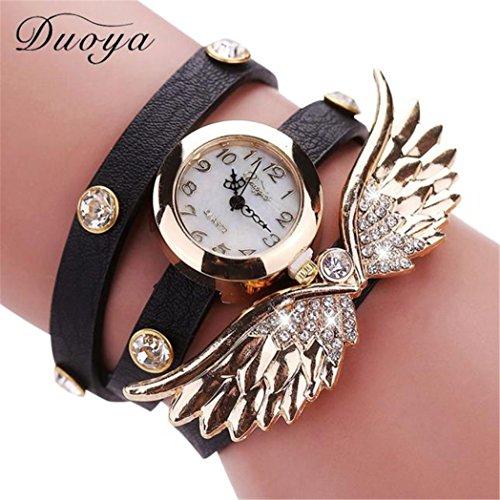 Vovotrade Duoya Uhren Damen Diamant Fluegel Abendkleid tragen PU Leather Alloy schwarz