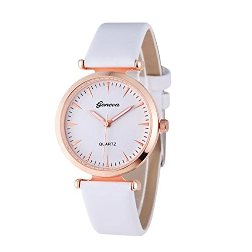Vovotrade Damen Diamant analoge lederne Uhren Weiss