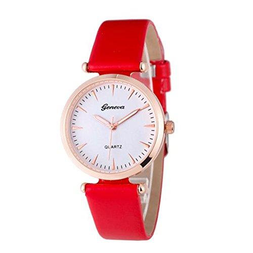 Vovotrade Damen Diamant analoge lederne Uhren Rot