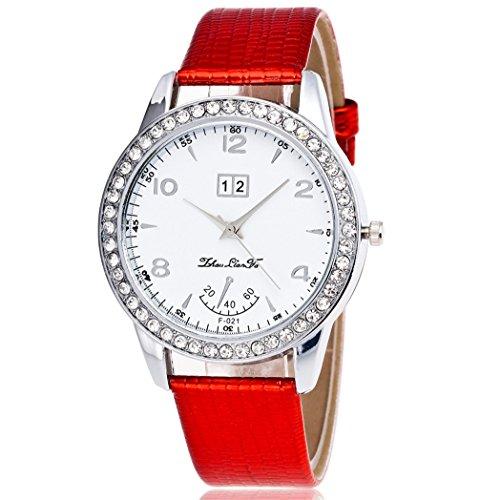 Vovotrade Diamant Lederband Analog Quartz Vogue Rot