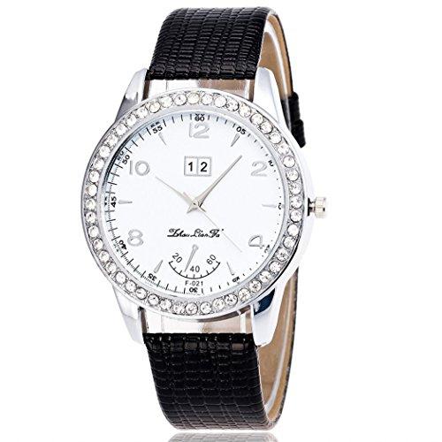 Vovotrade Diamant Lederband Analog Quartz Vogue Schwarz