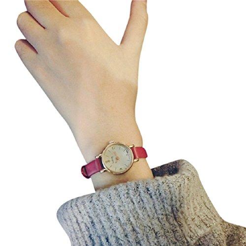Vovotrade Einfache Retro kleine Maedchen Uhr Dial Weibliche Tabelle Guertel casual Welle Rot