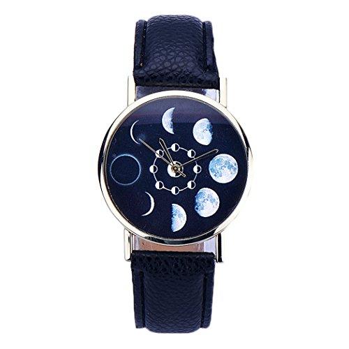 Vovotrade Mond Eklipsen Muster Leder analoge Schwarz